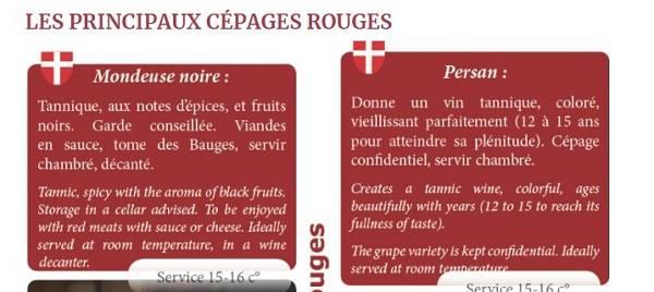 Arômes des Cépages Mondeuse et Persan
