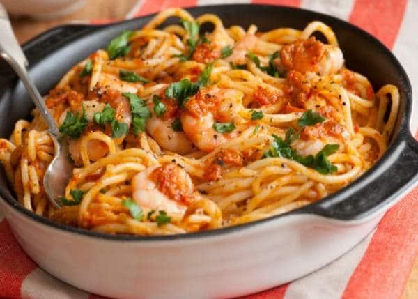 spaghetti fra diavollo et crevettes